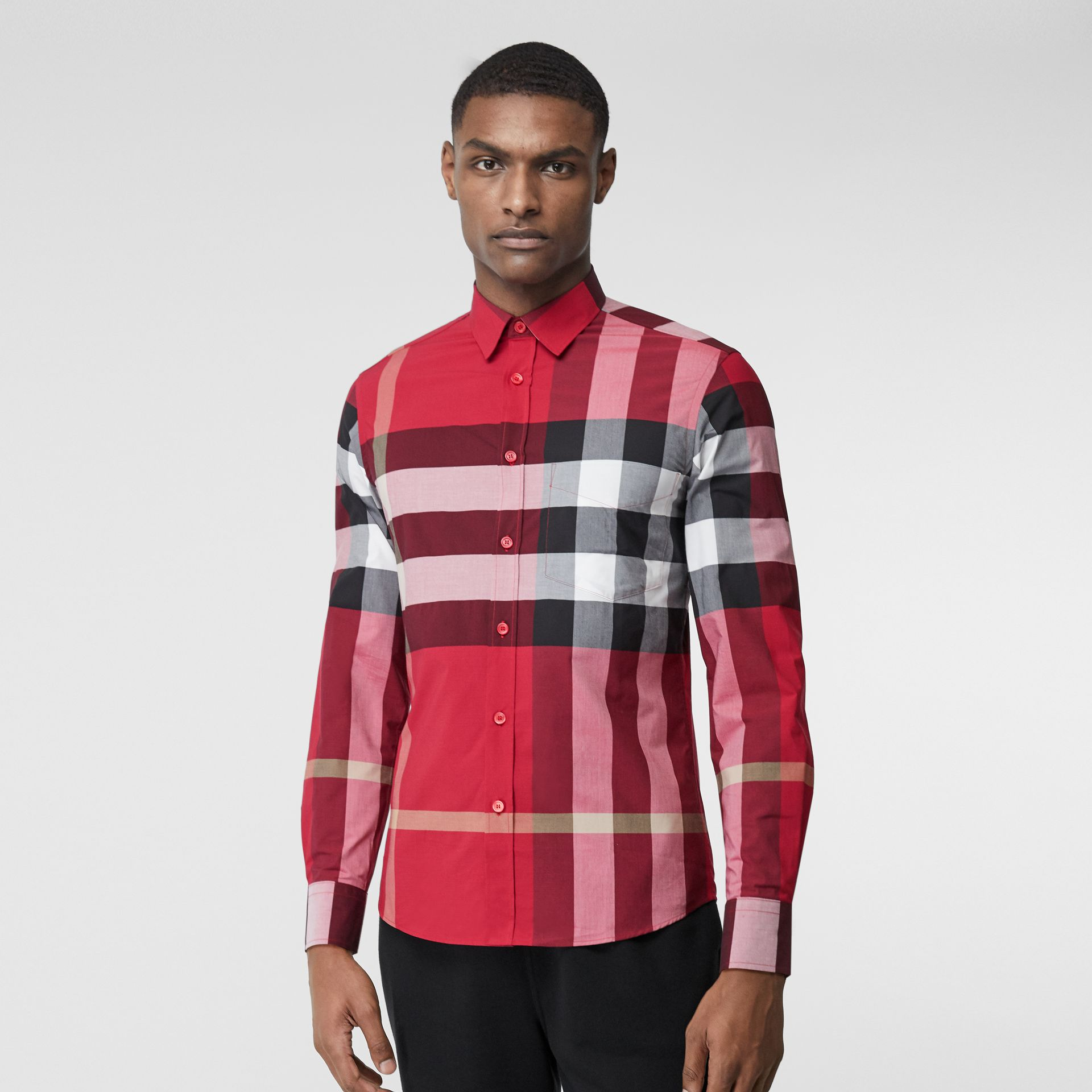 Check Stretch Cotton Poplin Shirt in Parade Red - Men | Burberry United Kingdom - gallery image 3