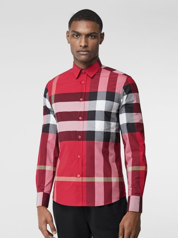 Check Stretch Cotton Poplin Shirt in Parade Red - Men | Burberry United Kingdom - cell image 3