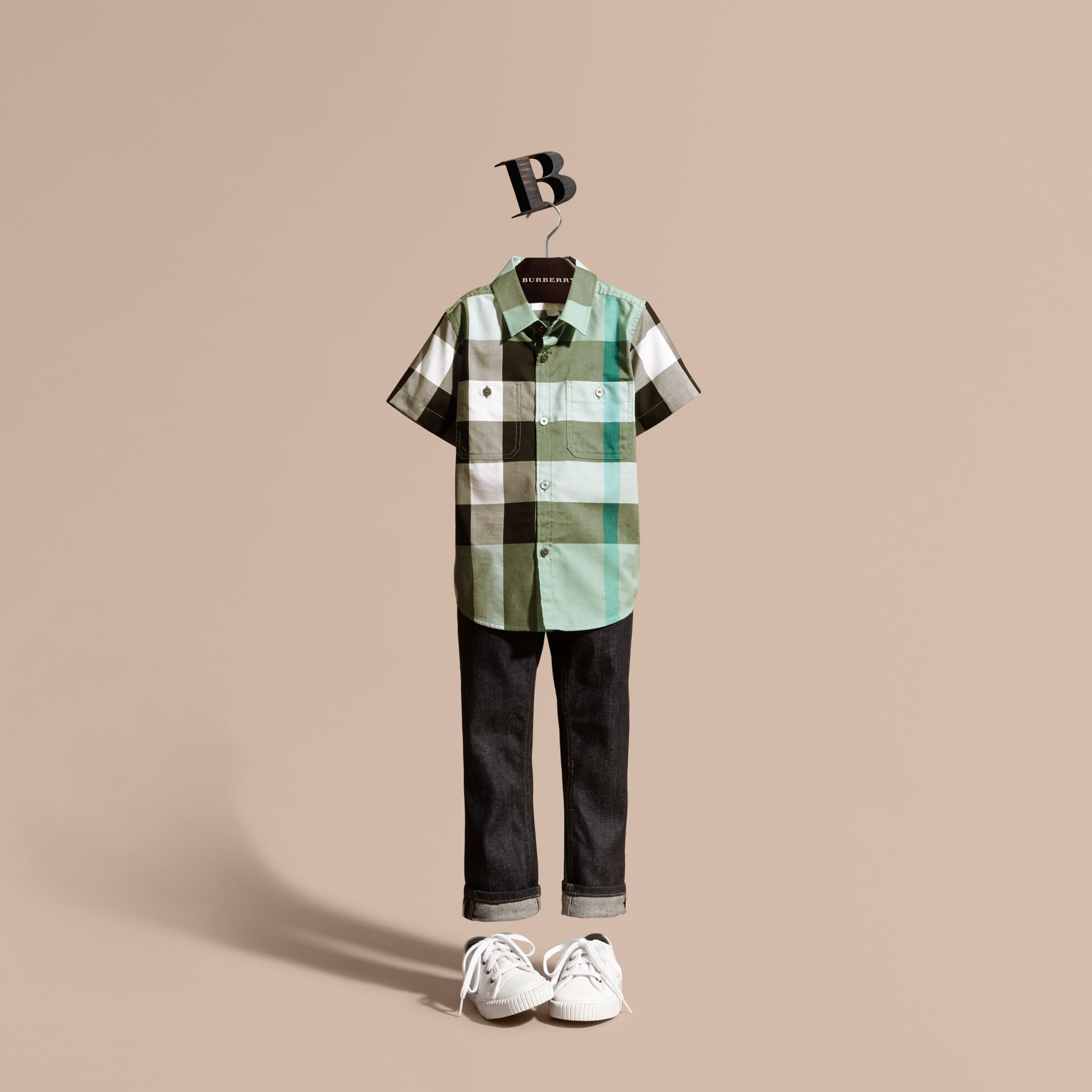 Short-sleeve Check Cotton Shirt in Eucalyptus - gallery image 1