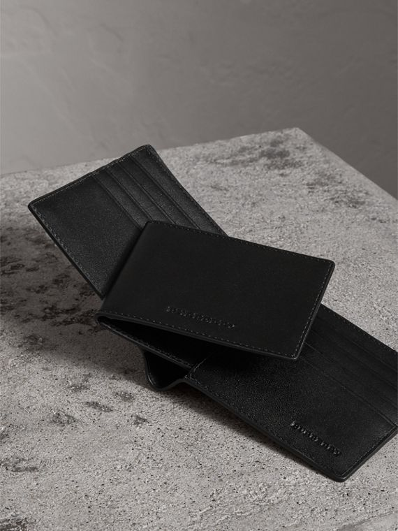 London Check Bifold Wallet with Removable Card Case in Charcoal/black - Men | Burberry Singapore - cell image 3