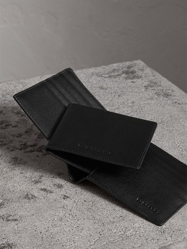 London Check Bifold Wallet with Removable Card Case in Charcoal/black - Men | Burberry Australia - cell image 3