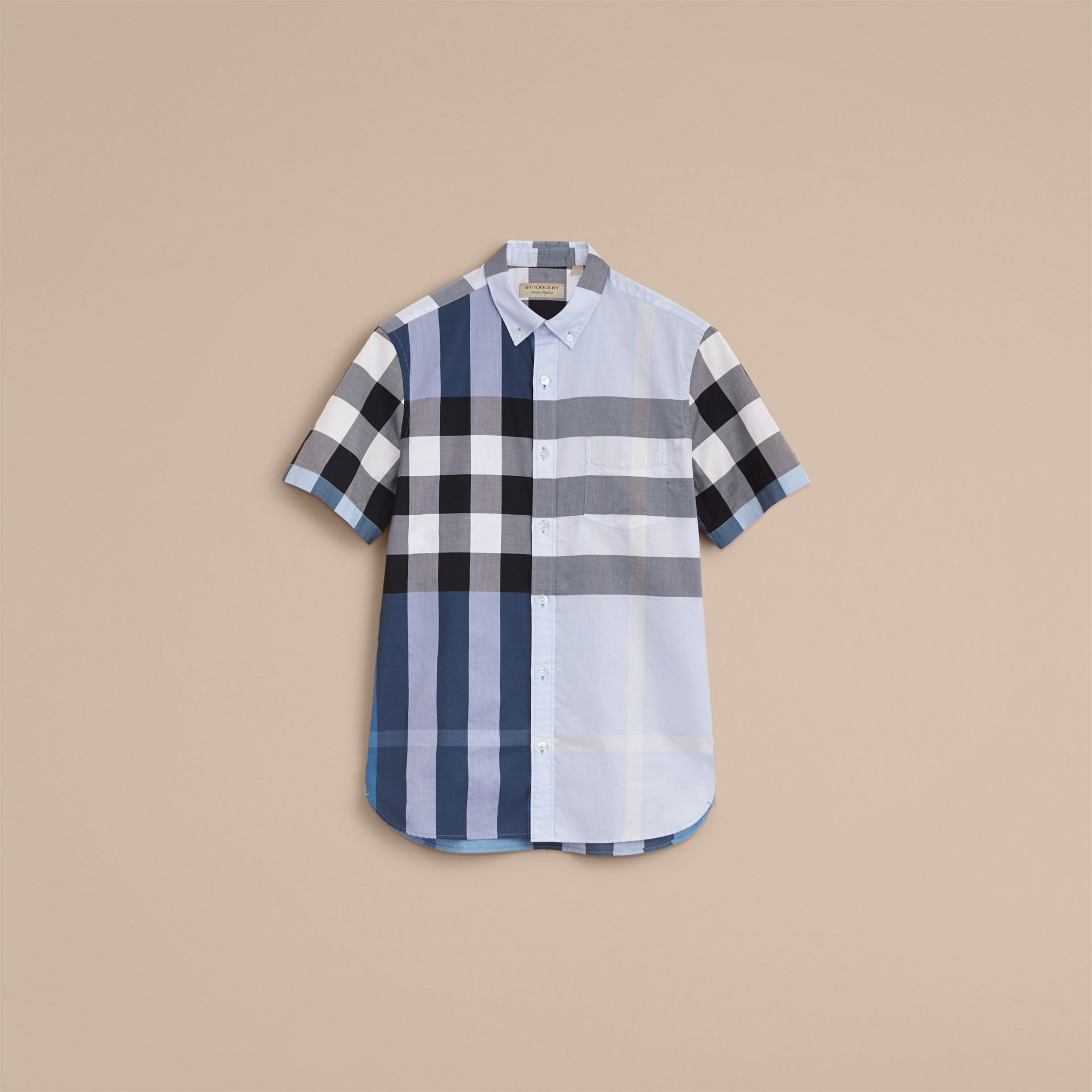 Button-down Collar Short-sleeve Check Cotton Shirt in Lupin Blue - gallery image 4