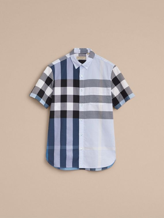 Button-down Collar Short-sleeve Check Cotton Shirt in Lupin Blue - cell image 3