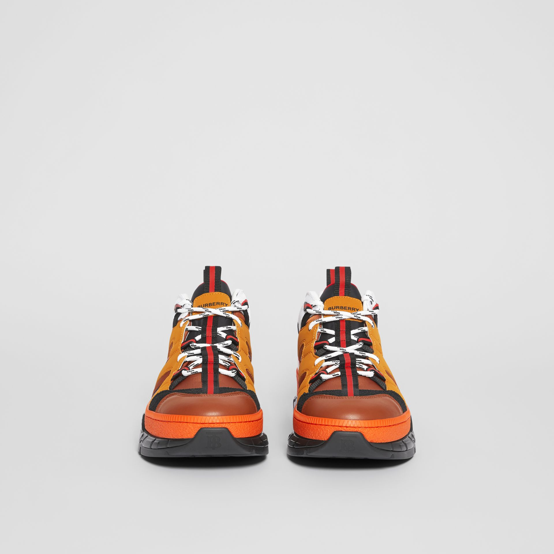 Nylon and Nubuck Union Sneakers in Orange - Men | Burberry United States - gallery image 3