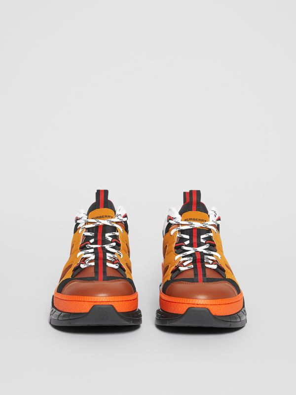 Nylon and Nubuck Union Sneakers in Orange - Men | Burberry United States - cell image 3