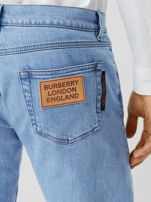 Slim Fit Japanese Stretch Denim Jeans in Light Indigo Blue - Men | Burberry - cell image 1