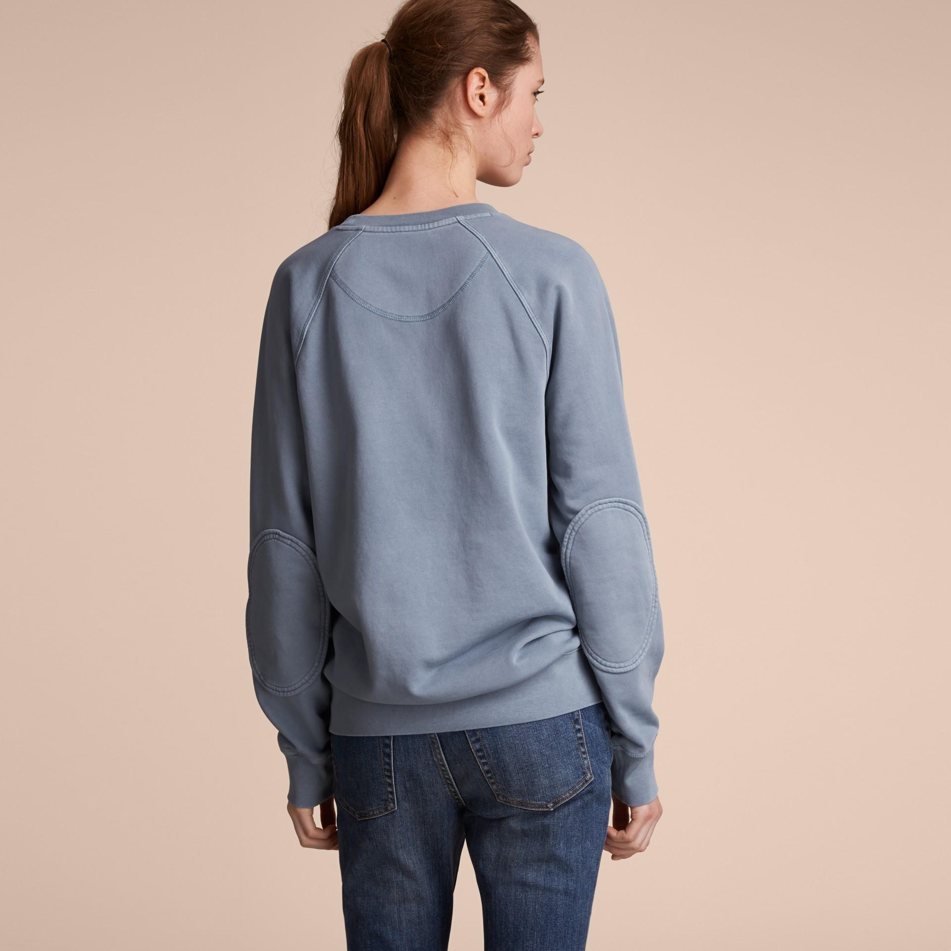 Unisex Pigment-dyed Cotton Oversize Sweatshirt in Dusty Blue - Women | Burberry Australia - gallery image 7