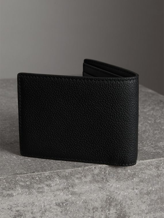 Grainy Leather Bifold Wallet in Black - Men | Burberry - cell image 2