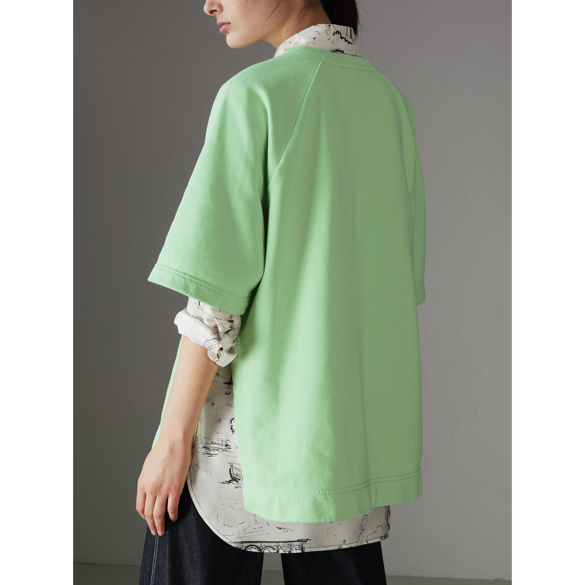 Postcard Print Cotton Jersey T-shirt in Mint Green - Women | Burberry - gallery image 2