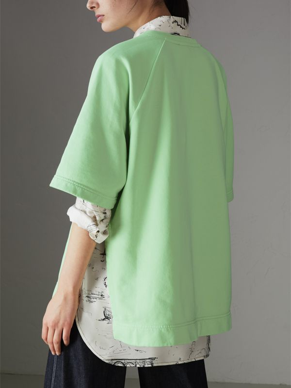 Postcard Print Cotton Jersey T-shirt in Mint Green - Women | Burberry - cell image 2