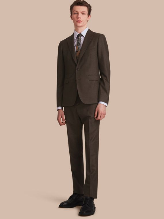 Soho Fit Wool Flannel Suit in Military Green Melange - Men | Burberry