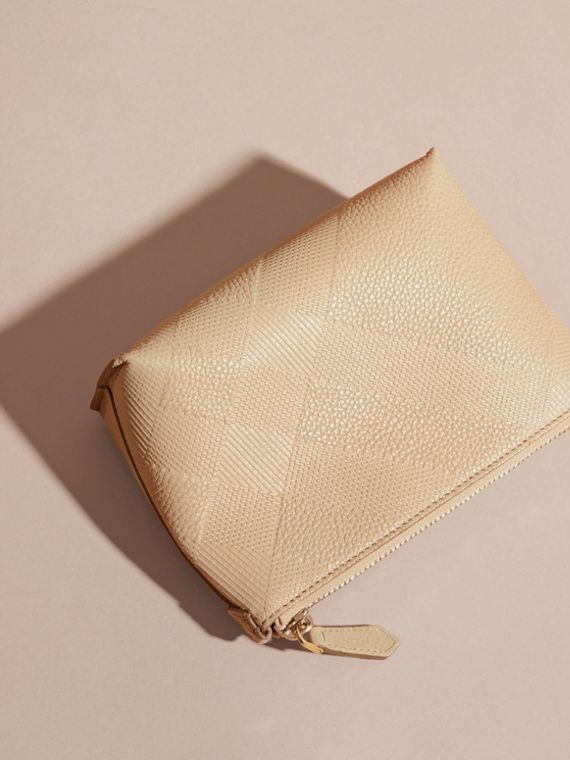 Stone Embossed Check Leather Beauty Pouch Stone - cell image 3