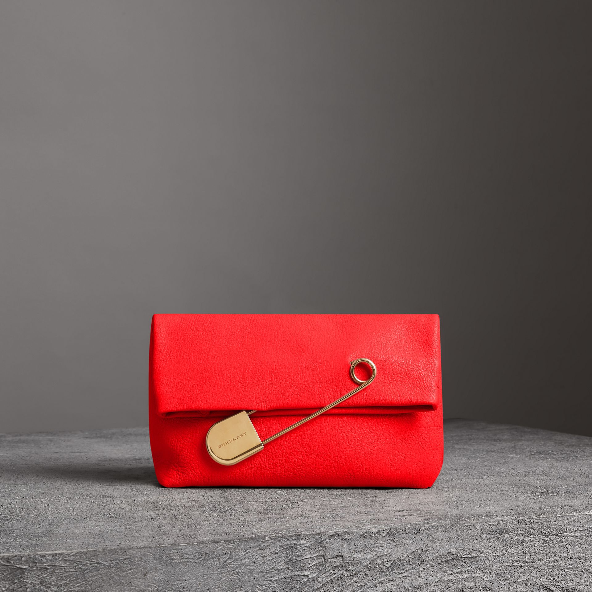 The Medium Pin Clutch in Leather in Bright Red - Women | Burberry Singapore - gallery image 0