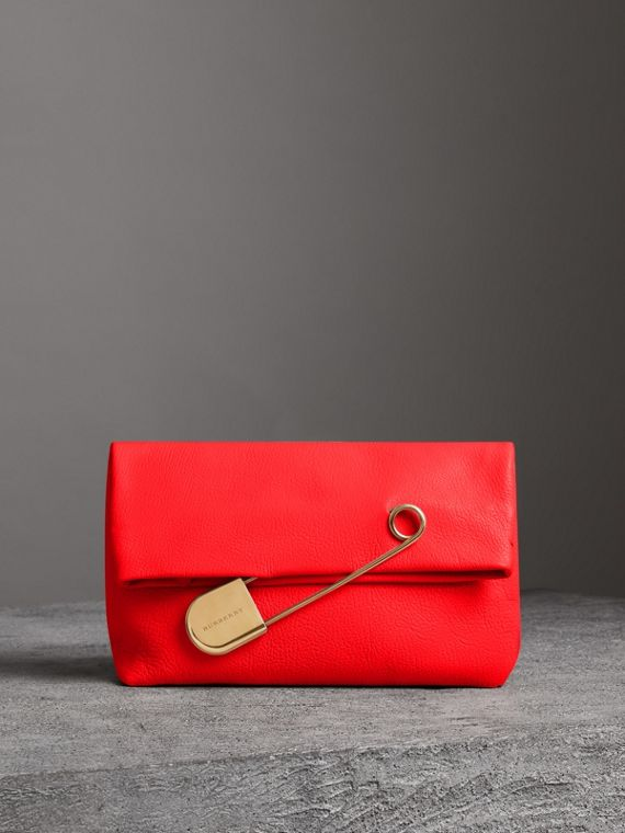 The Medium Pin Clutch in Leather in Bright Red