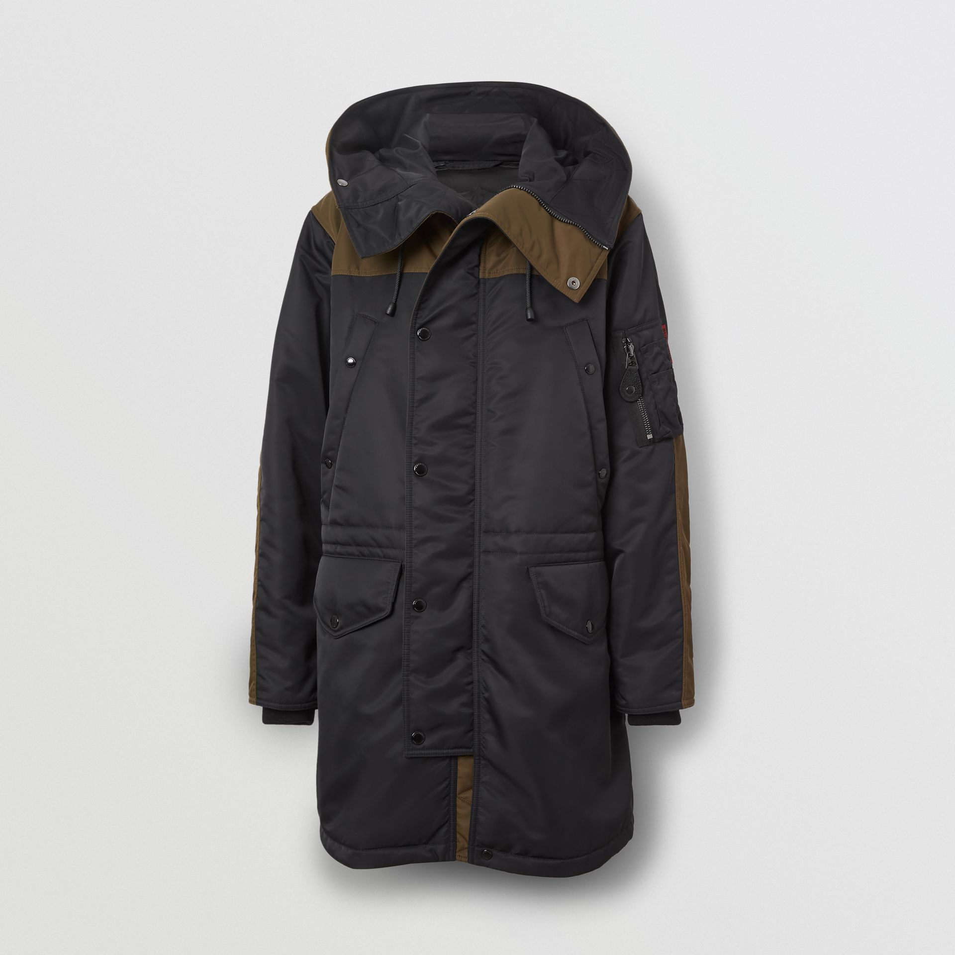 Colour Block Padded Hooded Parka in Black - Men | Burberry - gallery image 3