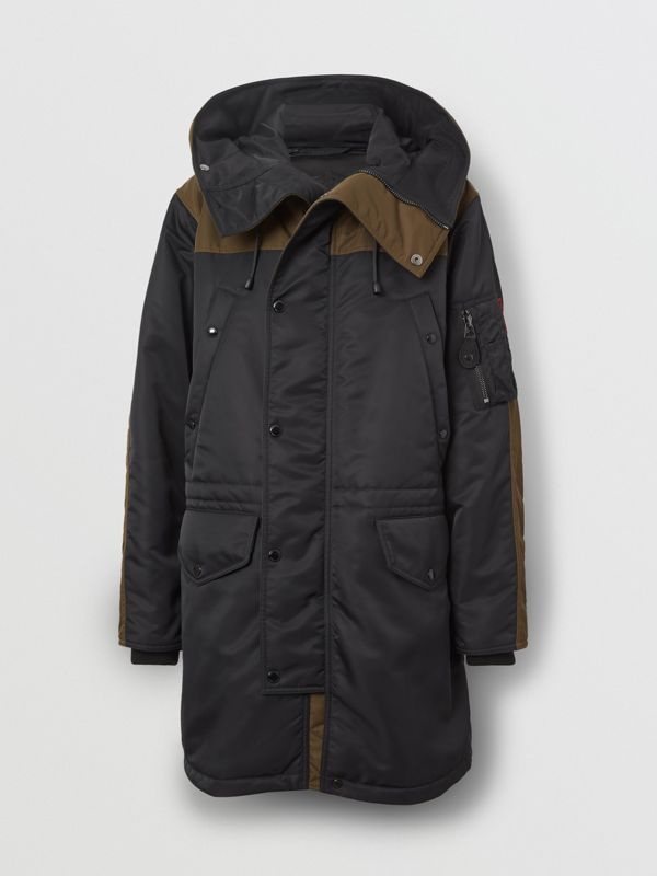 Colour Block Padded Hooded Parka in Black - Men | Burberry - cell image 3