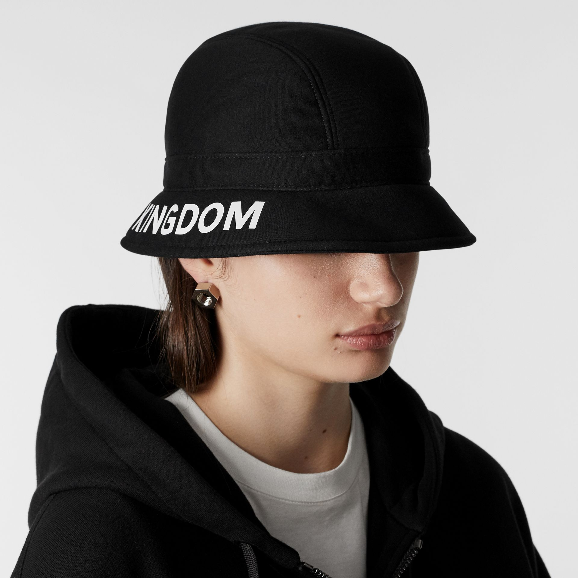 Kingdom Print Neoprene Bucket Hat in Black | Burberry - gallery image 2