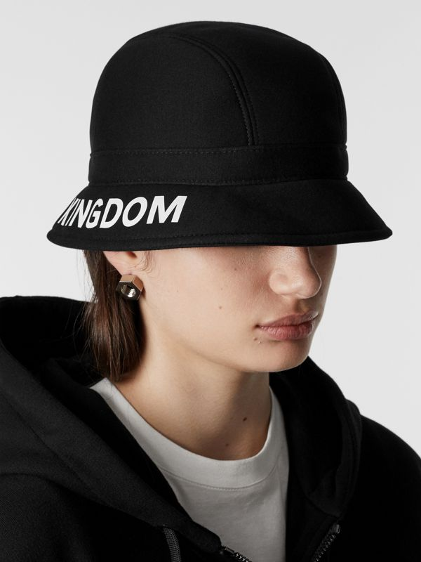 Kingdom Print Neoprene Bucket Hat in Black | Burberry - cell image 2