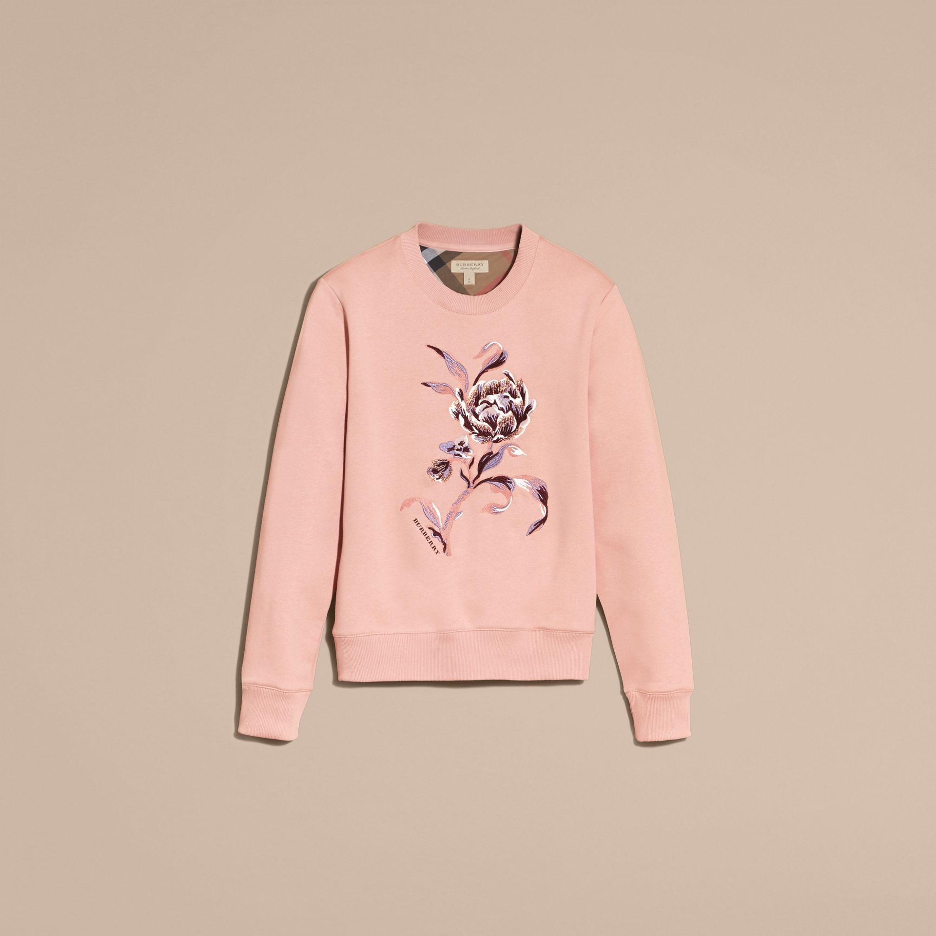 Embroidered Floral Motif Cotton Blend Sweatshirt Ash Rose - gallery image 4