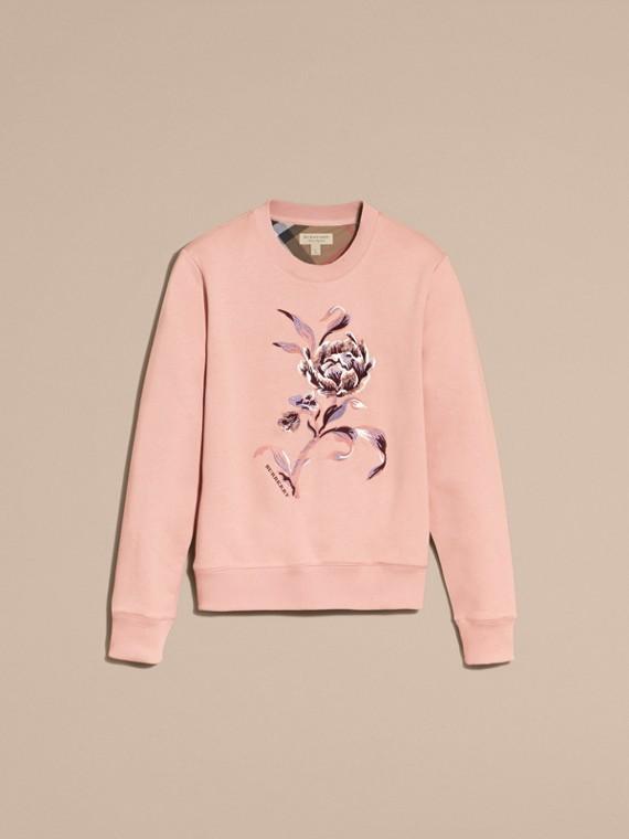 Embroidered Floral Motif Cotton Blend Sweatshirt Ash Rose - cell image 3