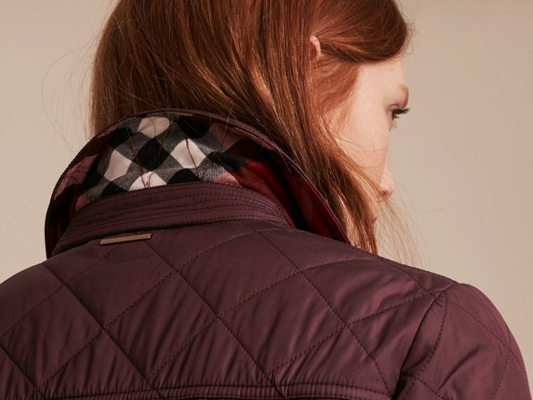 Check Detail Diamond Quilted Jacket Burgundy - cell image 4