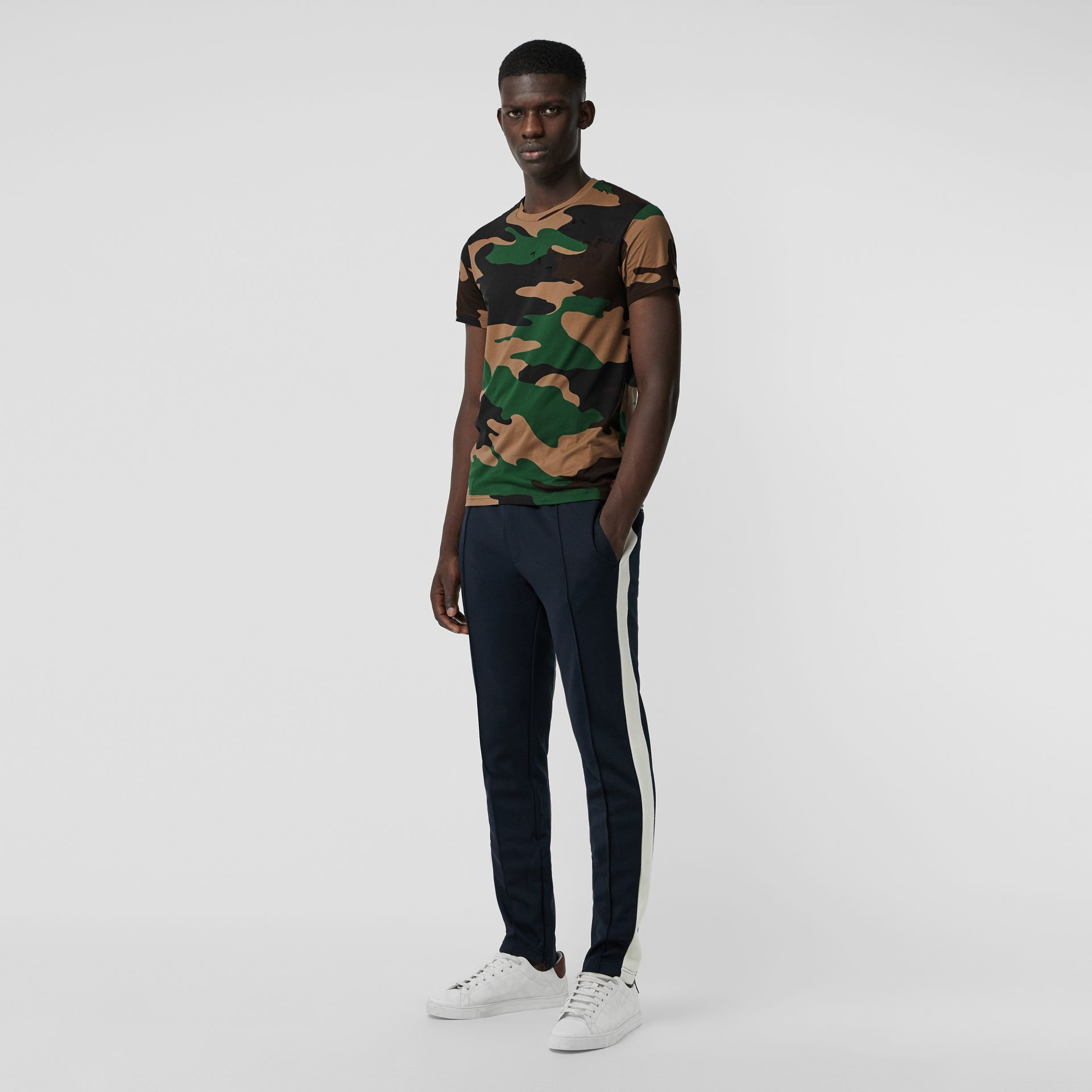 Camouflage Print Cotton T-shirt in Forest Green - Men | Burberry Australia - gallery image 0