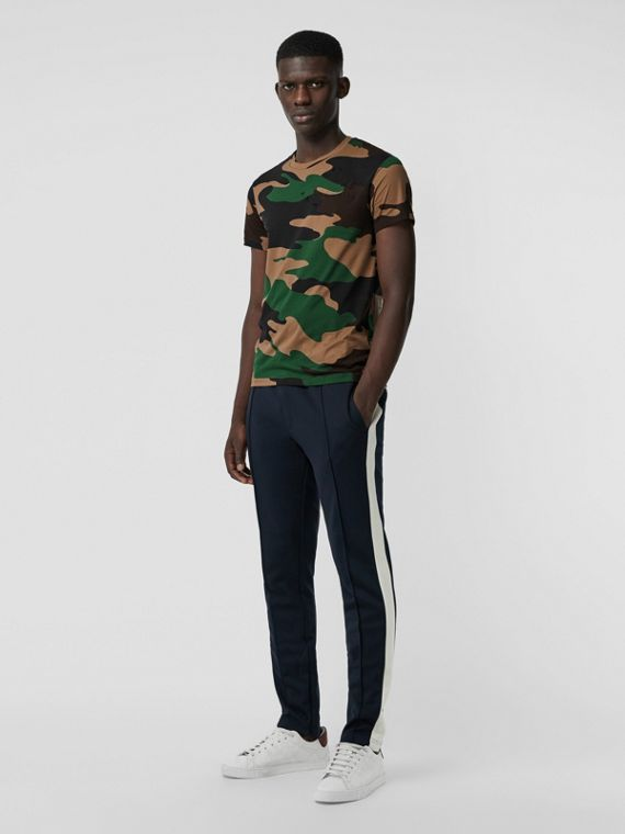 Camouflage Print Cotton T-shirt in Forest Green