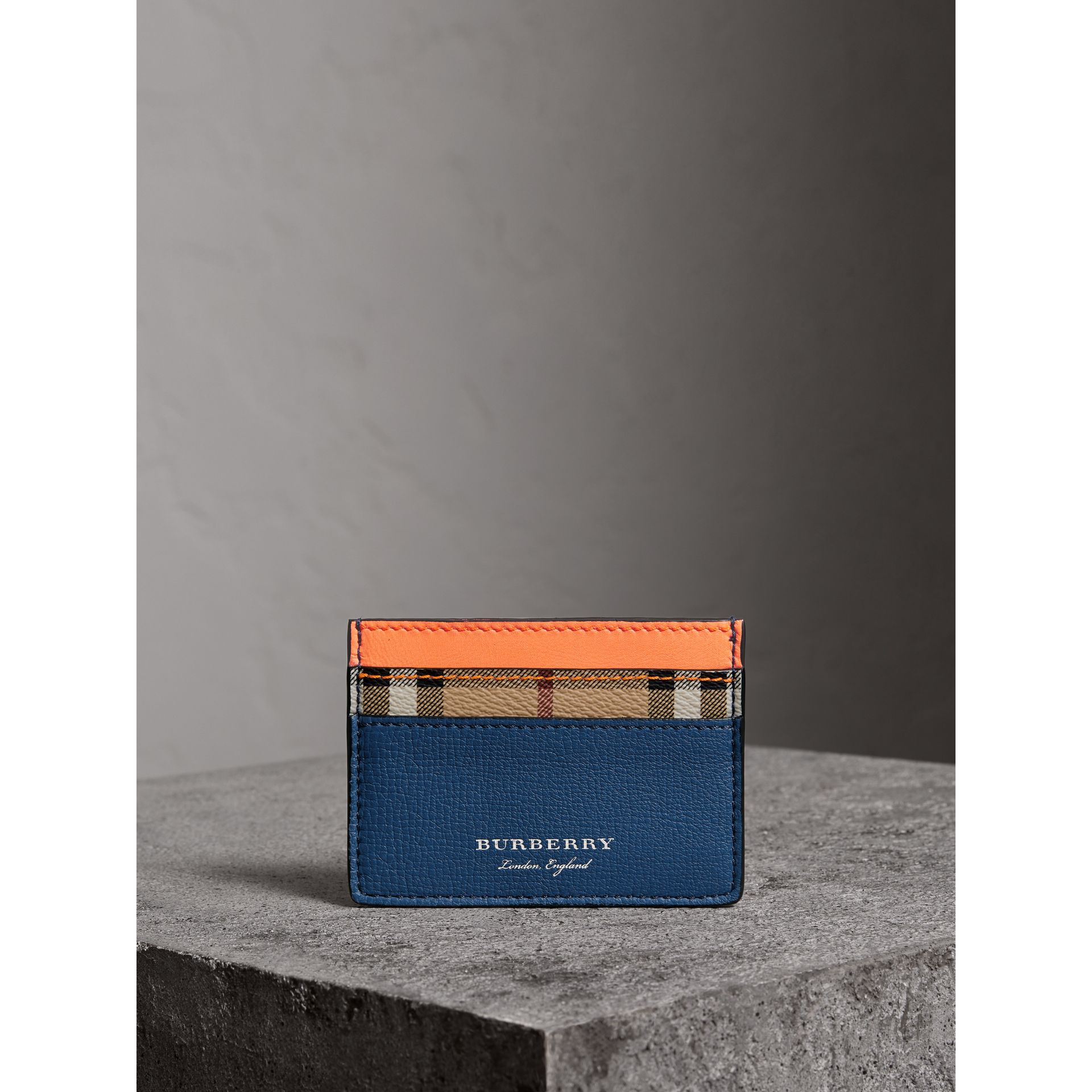 Haymarket Check and Two-tone Leather Card Case in Bright Orange | Burberry - gallery image 3