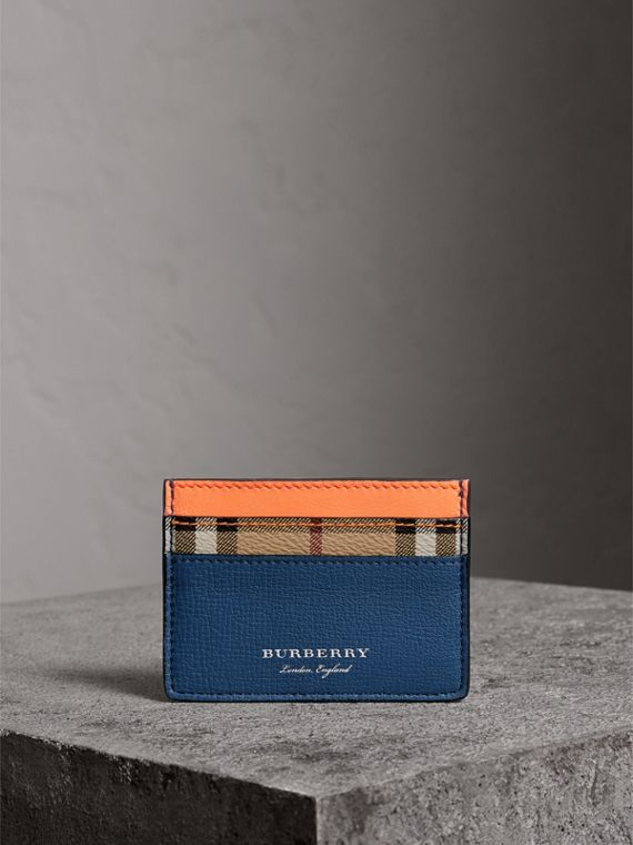 Haymarket Check and Two-tone Leather Card Case in Bright Orange - Men | Burberry - cell image 3