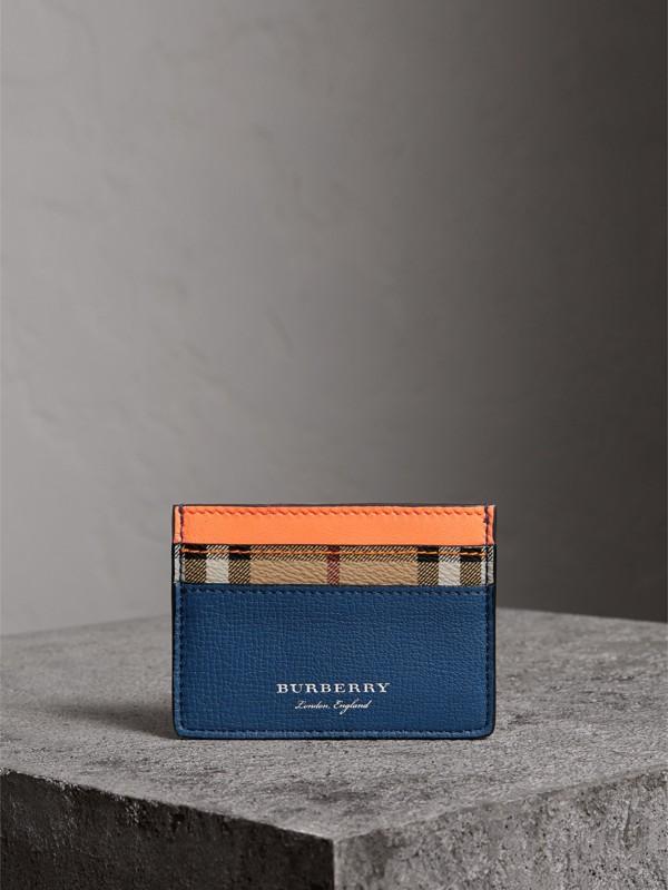 Porta-cartões em Haymarket Check e couro em dois tons (Laranja Vibrante) | Burberry - cell image 3