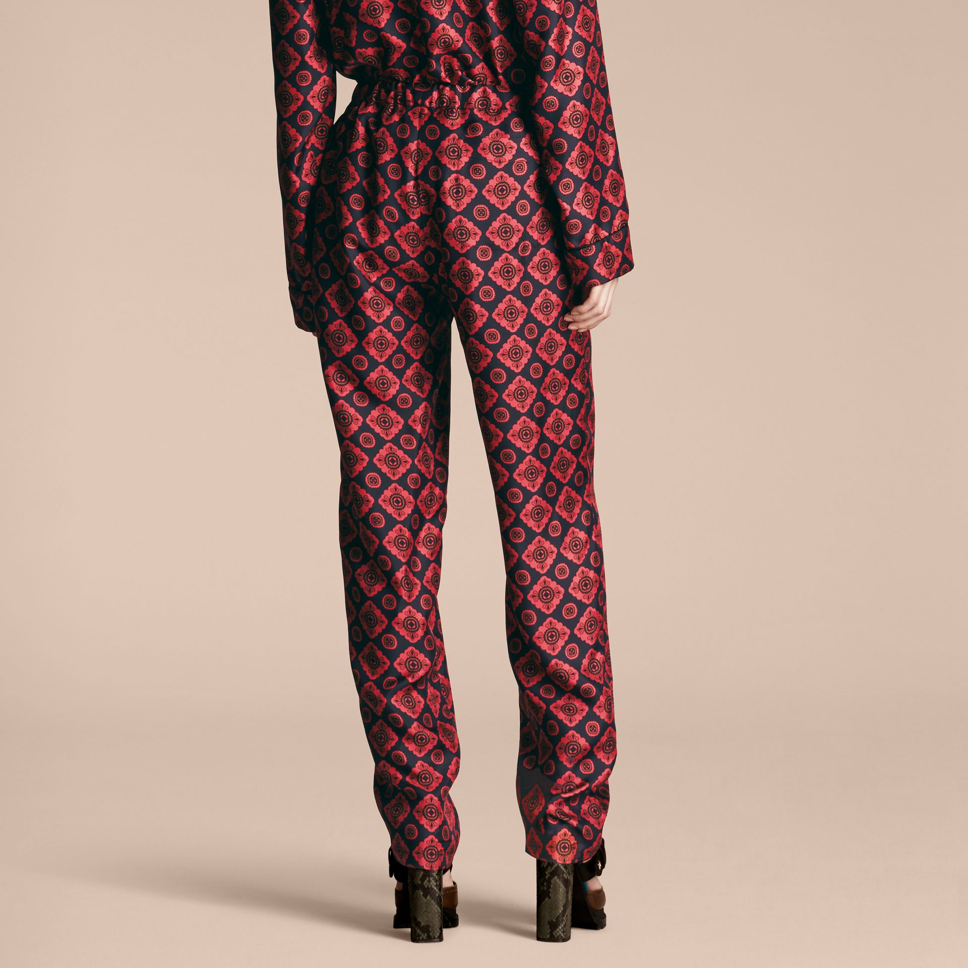 Navy Geometric Tile Print Silk Twill Pyjama-style Trousers - gallery image 3