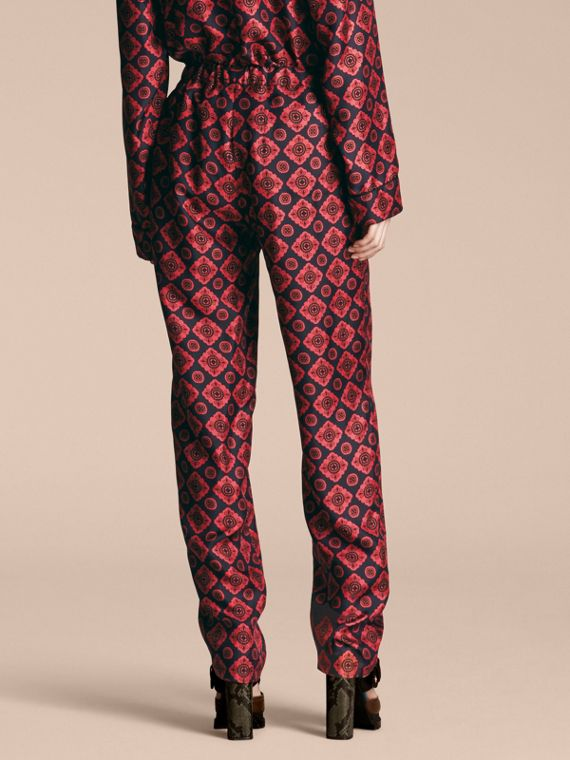 Geometric Tile Print Silk Twill Pyjama-style Trousers - cell image 2