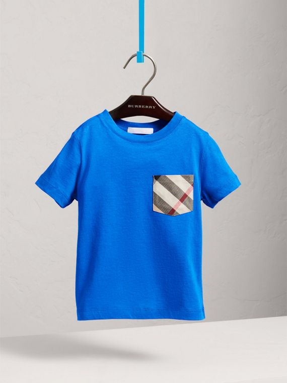 Check Pocket Cotton T-shirt in Cobalt Blue - Boy | Burberry - cell image 2