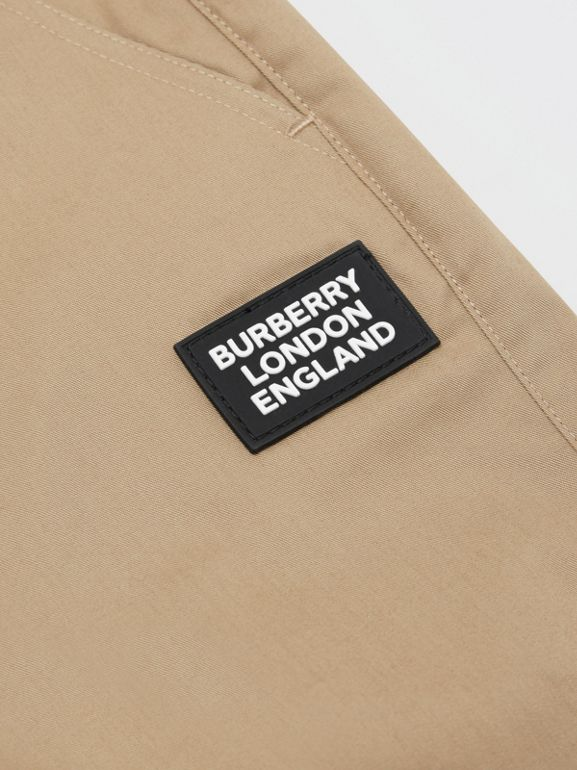 Logo Appliqué Cotton Twill Trackpants in Honey | Burberry - cell image 1