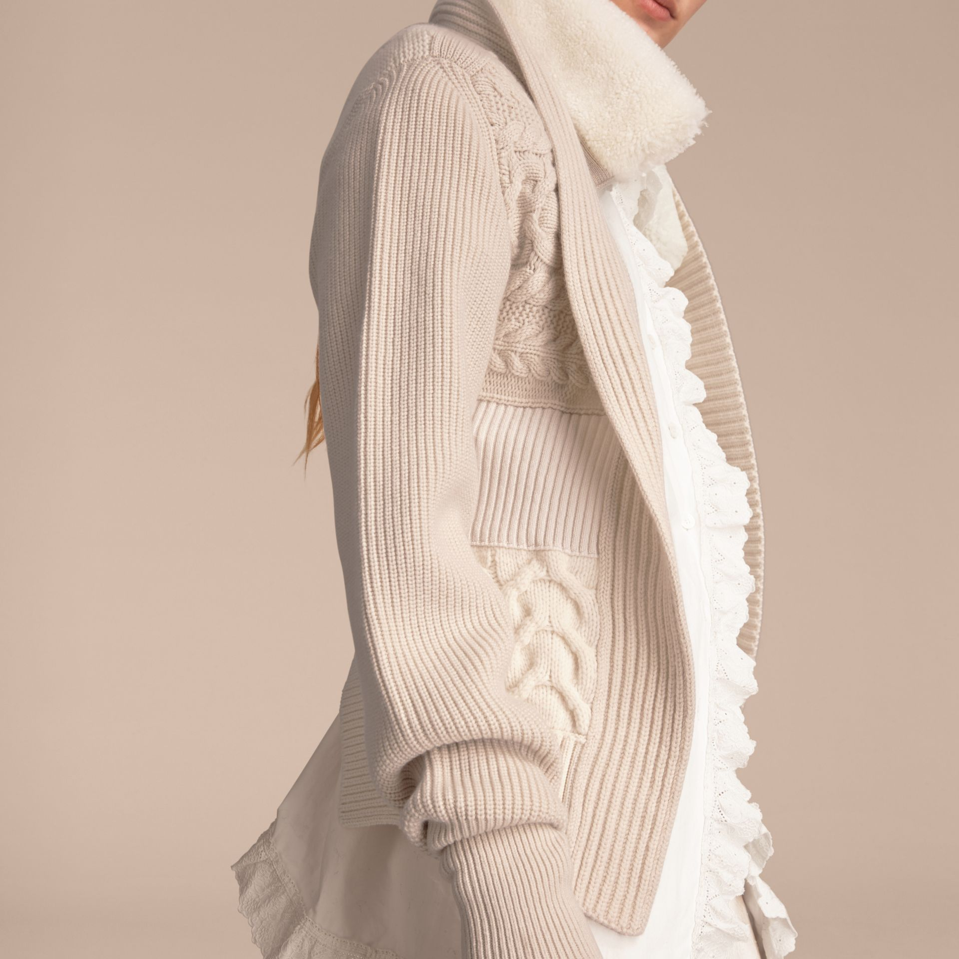 Shearling Collar Knitted Wool Cashmere Jacket in Natural White - Women | Burberry - gallery image 6