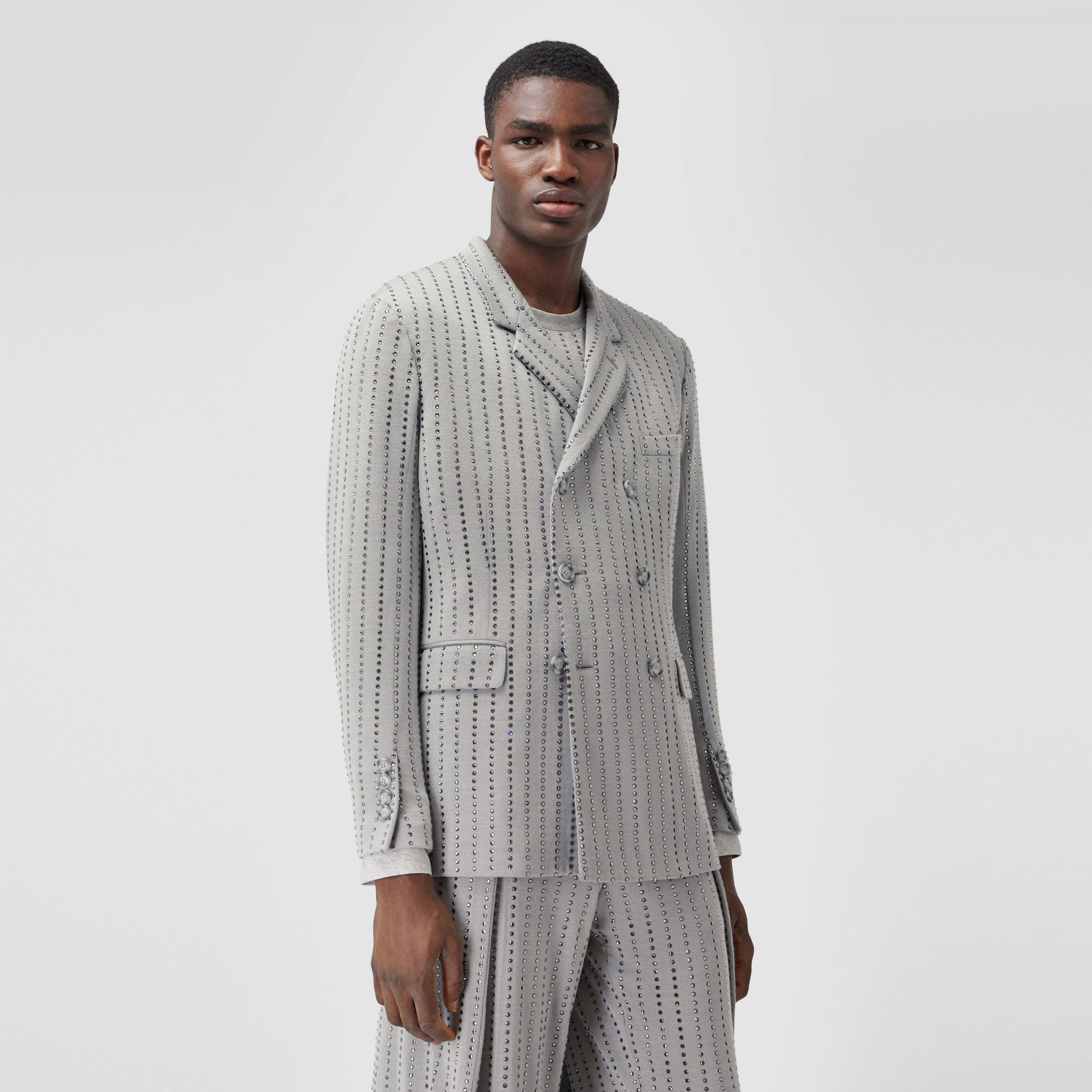 Classic Fit Crystal Pinstriped Tailored Jacket in Light Pebble Grey | Burberry - gallery image 0