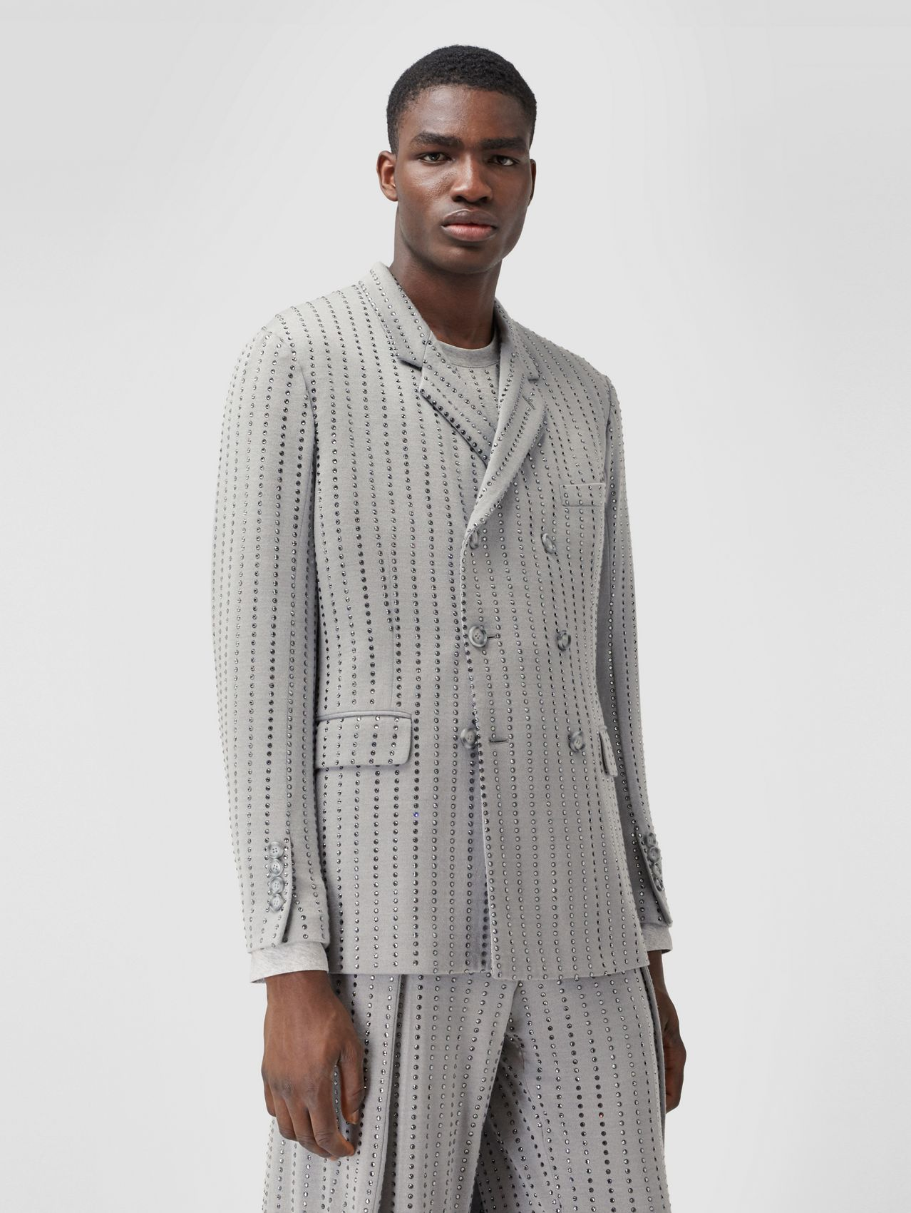 Classic Fit Crystal Pinstriped Tailored Jacket in Light Pebble Grey
