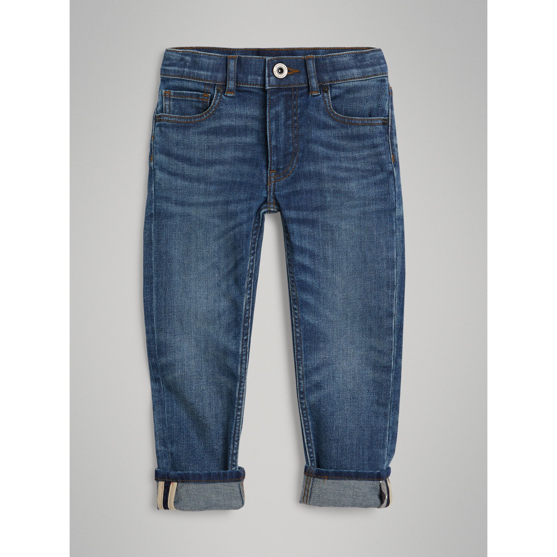Skinny Fit Stretch Jeans in Mid Indigo - Boy | Burberry Singapore - gallery image 0