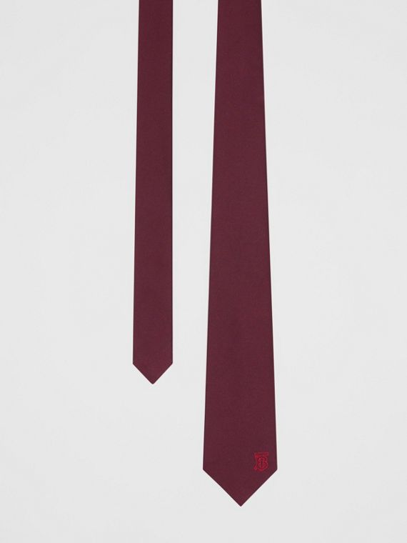 Classic Cut Monogram Motif Silk Tie in Deep Claret