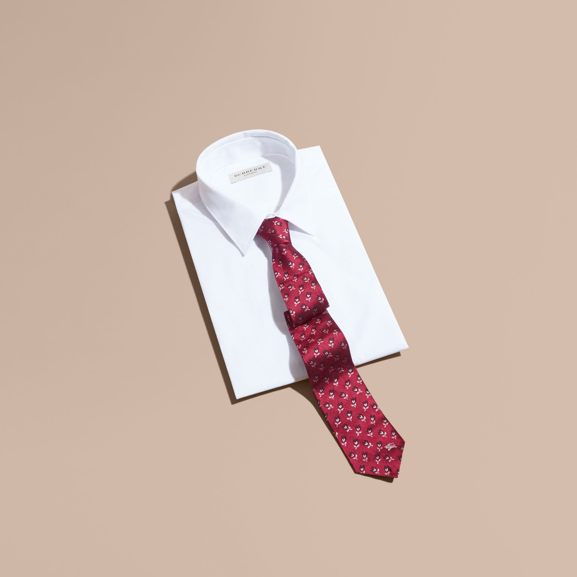 Modern Cut Floral Silk Jacquard Tie in Plum Pink - Men | Burberry - gallery image 4