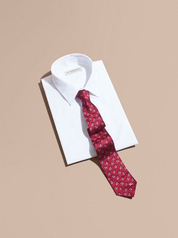 Modern Cut Floral Silk Jacquard Tie in Plum Pink - Men | Burberry - cell image 3