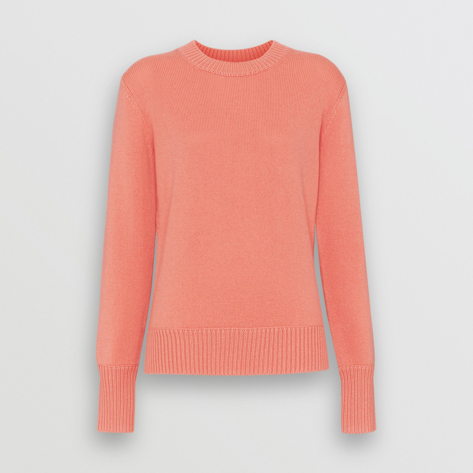 Archive Logo Appliqué Cashmere Sweater in Bright Coral Pink - Women | Burberry United Kingdom - gallery image 3