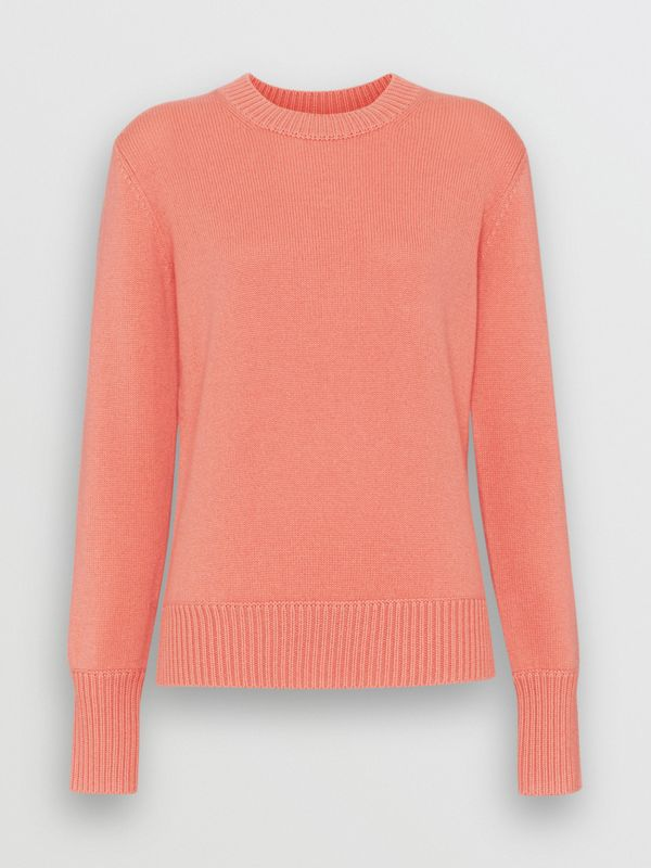 Archive Logo Appliqué Cashmere Sweater in Bright Coral Pink - Women | Burberry Hong Kong - cell image 3