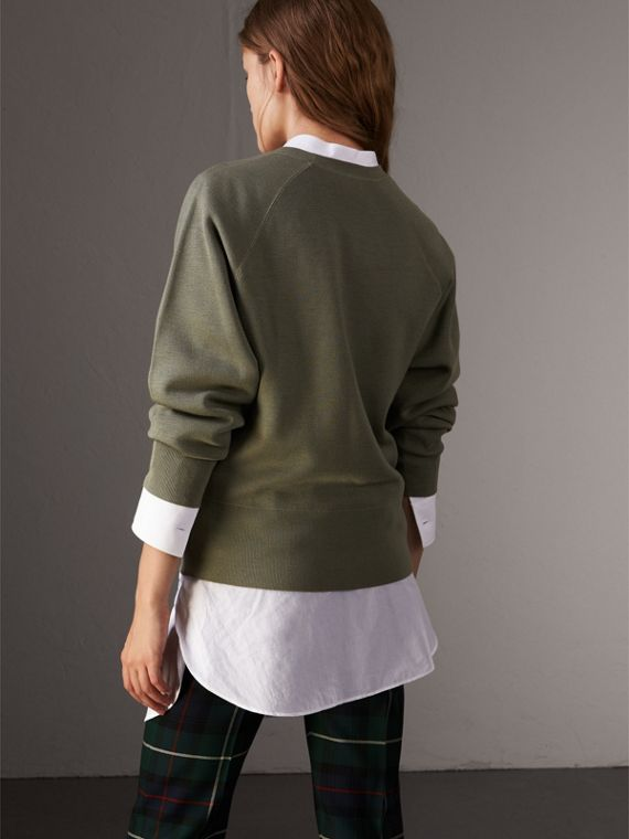 Lightweight Merino Wool Silk Sweater in Aqua Green - Women | Burberry - cell image 2