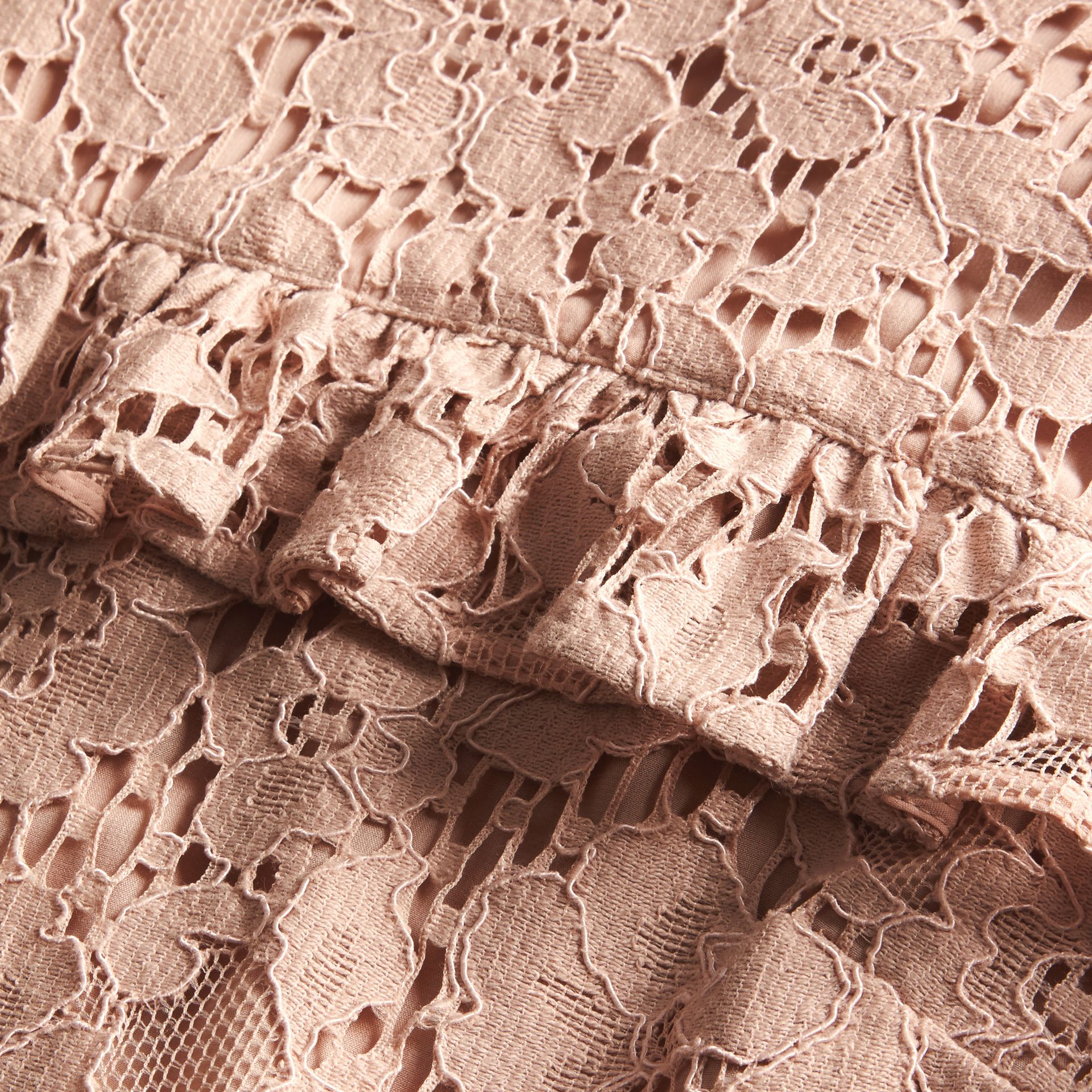 Nude Mid-length Lace Shift Dress with Ruffle Detail - gallery image 2