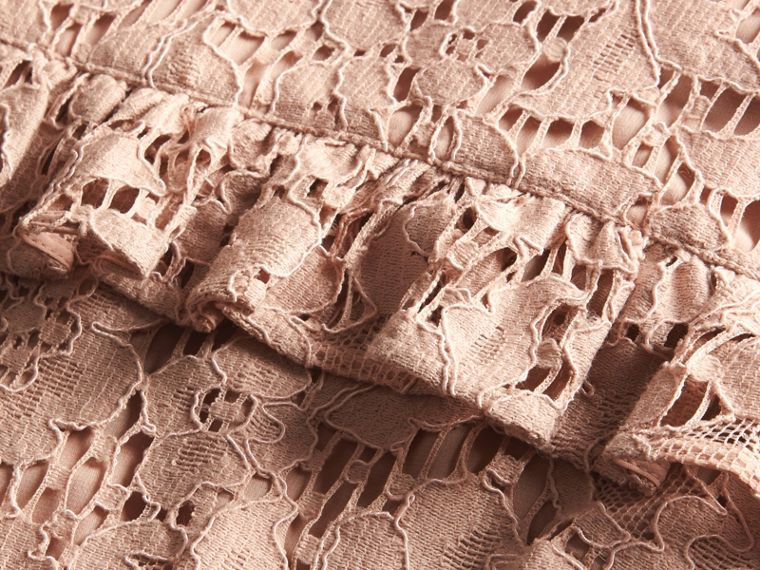 Nude Mid-length Lace Shift Dress with Ruffle Detail - cell image 1