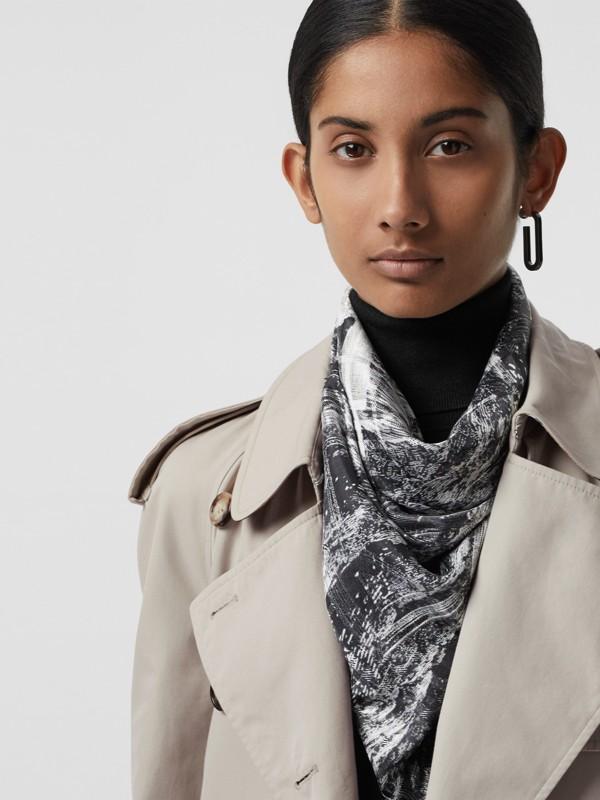 Dreamscape Print Check Silk Jacquard Square Scarf in White | Burberry - cell image 3