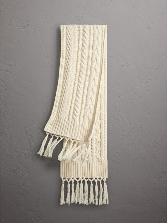 Tasselled Cable Knit Wool Cashmere Scarf in Natural White