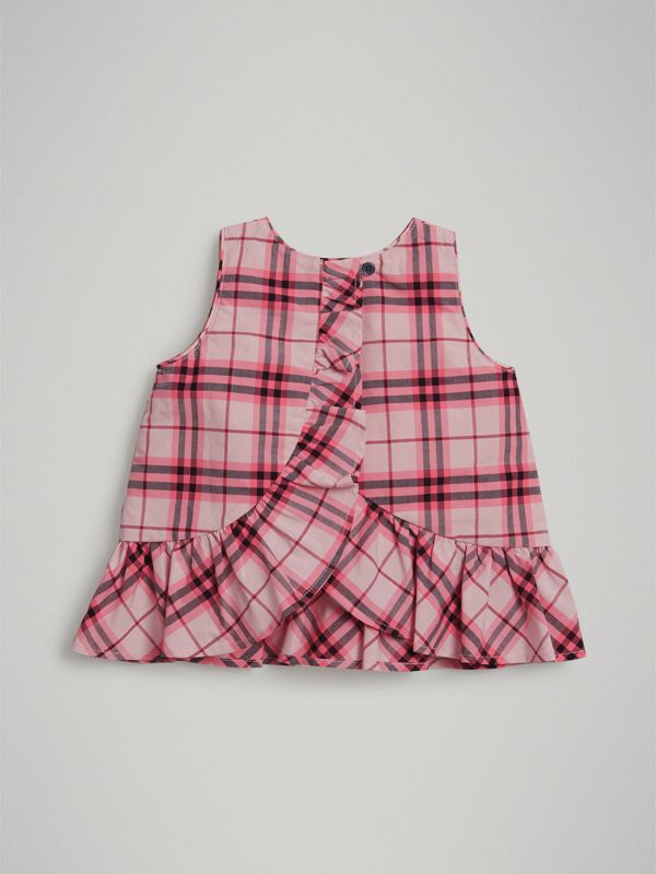 Ruffle Detail Check Cotton Top in Bright Rose - Children | Burberry - cell image 2