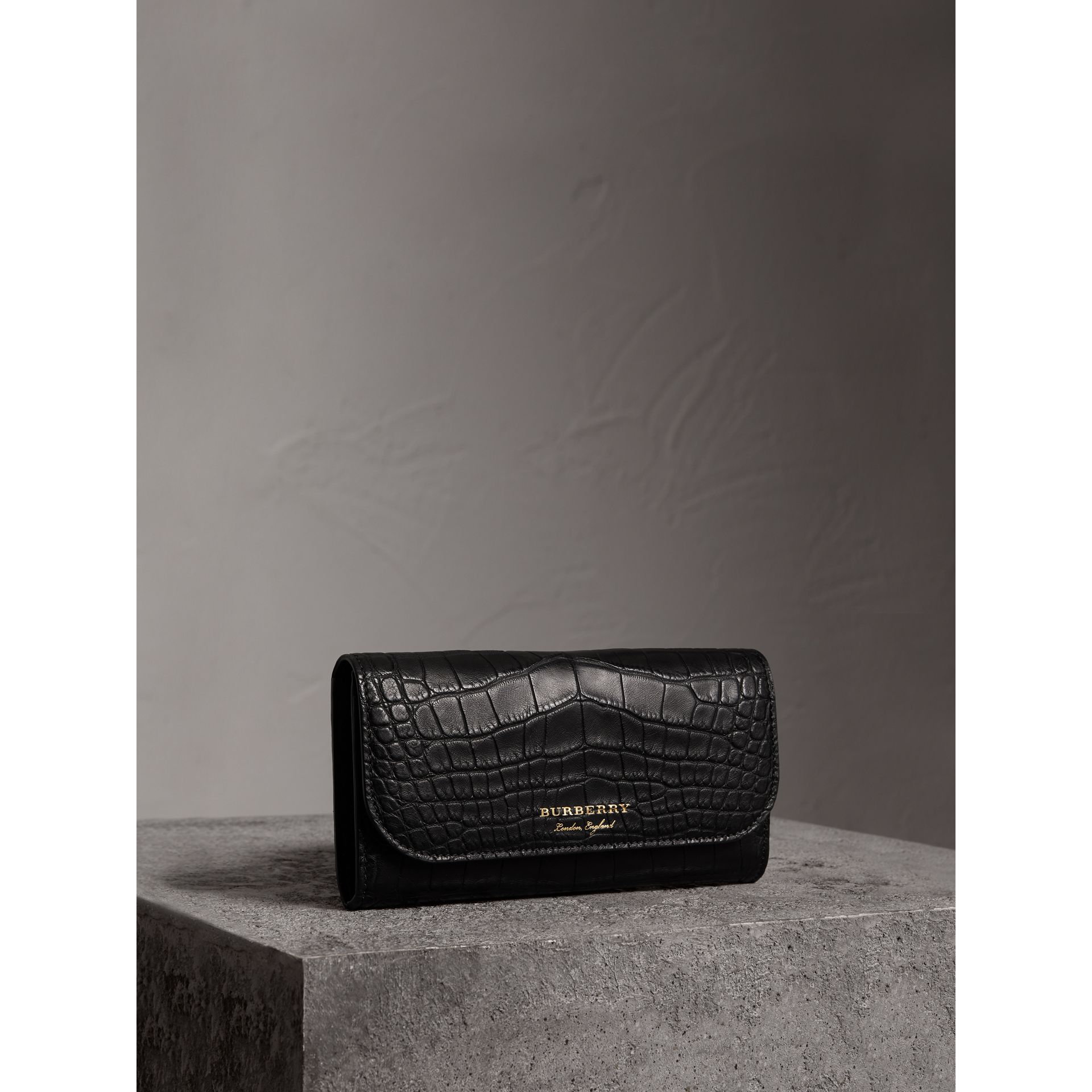 Alligator and Leather Continental Wallet in Black - Women | Burberry United States - gallery image 0